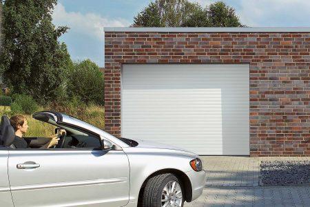 Garageport med hvid glat overflade - vælg mellem Duragrain og Decograin design
